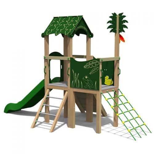 Jungle Themed Twin Deck School Play Tower