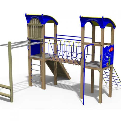 Atlantis Themed Double Timber Play Tower