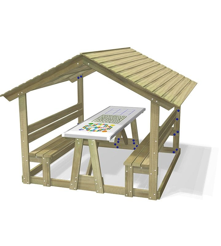 Roofed Seat with Table & GameTop without Base