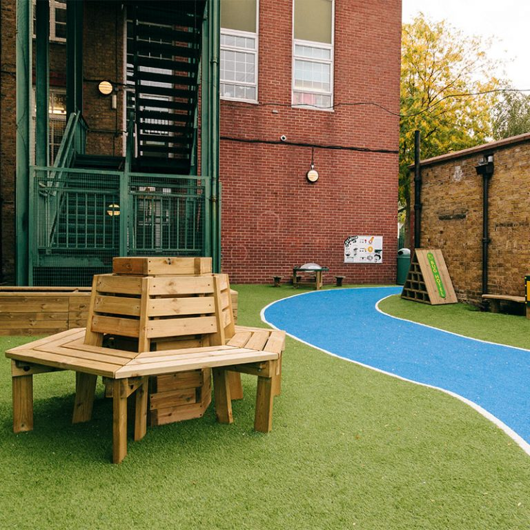 Synthetic Grass Playground Seating Area