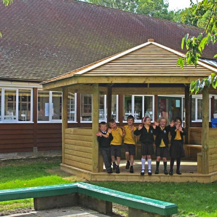 Gazebo With Desk and Bench - Outdoor Classroom