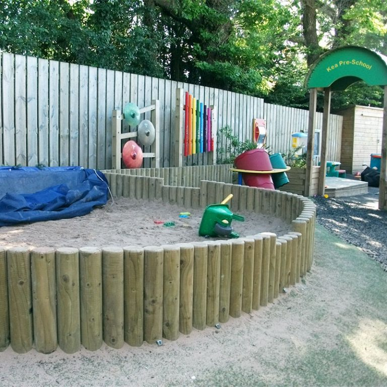 Timber Log Wall Sandpit