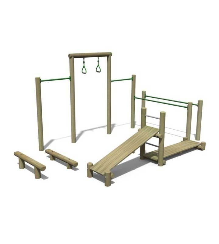 Timber Multi Gym 1 - Outdoor Gyms for Schools