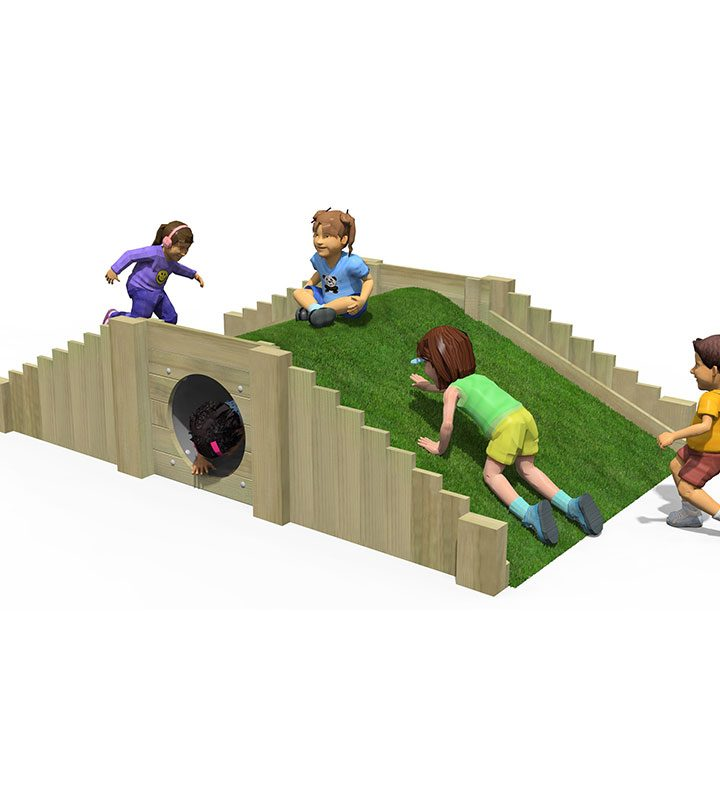 Timber Play Mound & Tunnel